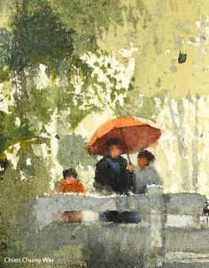 """""""A portrait among a landscape painting""""Focus figure , watercolor by Chien Chung Wei Watercolor Sketchbook, Watercolor Artists, Watercolor Portraits, Watercolor Landscape, Landscape Art, Landscape Paintings, Watercolor Paintings, Figure Painting, Painting & Drawing"""