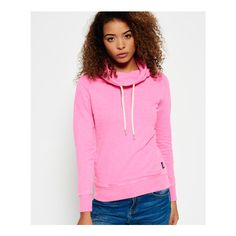 Superdry Funnel Hood Top featuring polyvore, women's fashion, clothing, tops, hoodies, pink, light weight hoodies, hooded top, lightweight hoodies, logo top and pink top