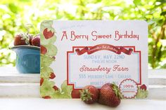 Printable Vintage Strawberry Farm Party Invitation by partypapers, $15.00