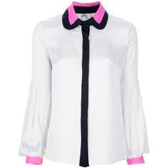 MILLY contrast collar blouse ($310) ❤ liked on Polyvore