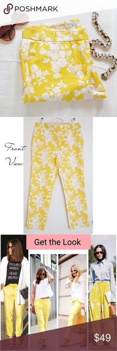 CHARTER CLUB | Capri Pants ~ Fun and bright floral print ~ Perfect statement piece for a fashion blogger 📸 ~ Color: Lemon yellow and white ~ Fit: Figure flattering, not tight like leggings ~ 97% cotton 3% spandex ~ Worn 1-2 times ~ Excellent used condition   🌻 GET THE LOOK: Photos 3 & 6 are style inspo photos. Similar looks; Not exact item.  ❤ LIKE for price drop notifications 👍 Accepting Reasonable Offers 🌴 Custom bundle discounts available. Just ask!! Charter Club Pants Ankle & Cropped