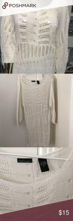 🏖Moda International White Crochet Dress🏝 Perfect as a beach cover up! Never worn before. Moda International Dresses