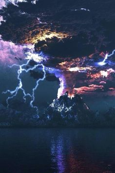 scenery, nature, landscapes, lightning, storms, volcanoes