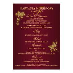 Butterfly Wedding Menu Burgundy gold butterfly wedding menu card