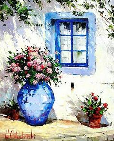 Artist Giclee of Santorini Greek isles print on Canvas Watercolor Architecture, Watercolor Landscape, Watercolor Flowers, Watercolor Paintings, Pinterest Arte, Window Art, Painting Inspiration, Art Pictures, Art Projects