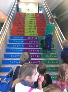 Great idea to promote learning of multiplication tables in elementary schools! {Original Source not found} Learning Spaces, Learning Environments, Kids Learning, Visual Learning, I School, Primary School, Elementary Schools, Ecole Design, School Murals