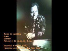 """SCRIABIN (1872-1915) Prelude in C# minor, Op.9, No.1, """"for the left hand only"""" Alicia de Larrocha (piano) Recorded: 11-November-1972 (live) Metropolitan Muse..."""