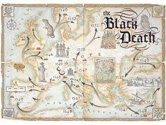 Dave Stevenson - illustrator - map of black death, tracing the black plague across europe
