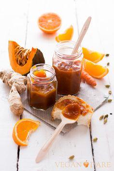 Orange, pumpkin and ginger marmalade and orange carrot and cardamom marmalade