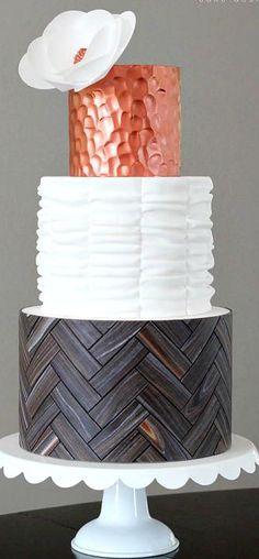 Herringbone Wood Copper Ruffle Cake