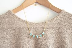 Spike Necklace - Autumn Jewelry, Mini Brass Spikes with Robin Blue Drops