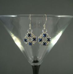 chainmaille jewelry | Chain Maille Flower Earrings in Sapphire Blue Swarovski Crystal ...