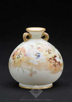 Mount Washington Glass Co. Crown Milano Art Glass Vase with Multi-Color Pansy Decoration, Bulbous Form with Applied Diminutive Doulbe Handles. Circa 1891-1895