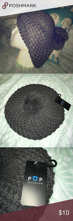 Grey knit beret Pop Headwear Nice, brand-new hat perfect for any casual occasion. Pop Headwear Accessories Hats