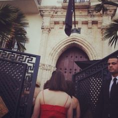 Entering the Versace mansion...