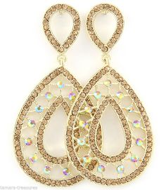 "BIG CHAMPAGNE GOLD Aurora RHINESTONE Chandelier PIERCED Earrings 3 1/4"" Pageant #ParisCollection #DropDangle"