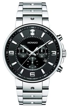 Movado 'S.E. Pilot' Chronograph Bracelet Watch, 42mm at Nordstrom.com. A bold, modern chronograph dial within a slim steel bezel creates a striking statement in a fine Swiss watch. The iconic Movado Museum dot details 12 o'clock, while smooth dot indentations center the handsome dual-finished steel bracelet.