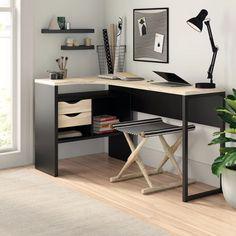 Zipcode Design Chang L-Shape Desk Colour: Black/Brown Computer Desk With Hutch, Desk With Drawers, Corner Desk, Desk With Shelves, Solid Wood Desk, Floating Desk, Best Desk, L Shaped Desk, Home Office Desks