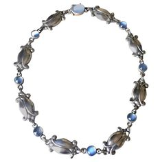 Georg Jensen Sterling Silver Necklace No. 15 with Moonstones   From a unique collection of vintage link necklaces at https://www.1stdibs.com/jewelry/necklaces/link-necklaces/