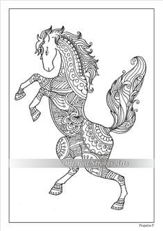 intricate horses coloring pages zentangle by bevan colouring animals 4761