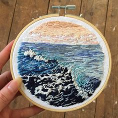 Embroidered seascape