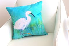 Turquoise Pillow Bird Pillow Bird Decor Snowy Egret Print by coastal artist Alexandra Nicole Newton