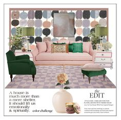 """""""Colour Challenge.  Green & Blush"""" by frenchfriesblackmg ❤ liked on Polyvore featuring interior, interiors, interior design, home, home decor, interior decorating, Nearly Natural, Ethan Allen, Pier 1 Imports and Universal Lighting and Decor"""
