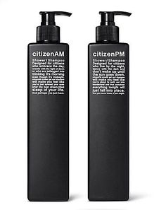 citizen AM/PM minimalistic packaging design in black and white shampoo | Design: Vlamboyant |