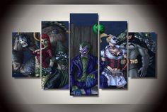 5 Panel With Framed Printed batman arkham asylum anime Painting living room decor print poster picture canvas cuadros decoracion