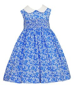 Look at this Royal Floral Smocked A-Line Dress - Infant, Toddler & Girls on #zulily today!