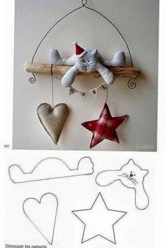 MiiMii - crafts for mom and daughter.: How to make Christmas ornaments for a few pennies - time to start work :) Christmas Projects, Felt Crafts, Holiday Crafts, Fabric Crafts, Sewing Crafts, Diy And Crafts, Scrap Fabric, Christmas Makes, All Things Christmas