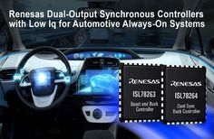 The Renesas Electronics Corporation has introduced a new pair of 42V dual synchronous controller that is designed with the lowest quiescent current of 6µA and integrated 2A source/3A sink MOSFET drivers that provide primary power stage solutions for the RenesasR-Car H3andR-Car M3SoCs.