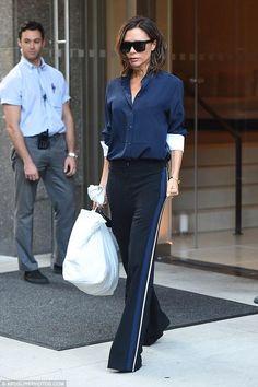 Victoria Beckham wearing Victoria Beckham Vbs13 Flat Top Sunglasses, Victoria Beckham High-Waist Relaxed-Fit Tuxedo Pants and Victoria Beckham Silk Crepe De Chine Shirt