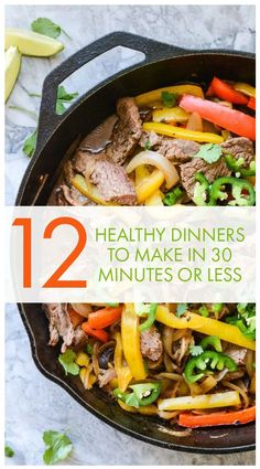 Paleo Skillet Beef Fajitas Recipe with macro information ready in 30 minutes making it the perfect healthy weeknight dinner - A Healthy Life For Me Whole30 Dinner Recipes, Paleo Recipes, Paleo Meals, Lunch Recipes, Clean Dinner Recipes For Two, Low Calorie Dinner For Two, Meal Recipes, Keto Snacks, Family Recipes