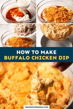 This easy buffalo chicken dip recipe has all the amazing flavor of buffalo wings in a cheesy dip form. No party should be without this recipe! #partydip #appetizer #gamedaysnacks #buffalochicken Chicken Appetizers, Game Day Appetizers, Chicken Dips, Dip Recipes, Appetizer Recipes, Cooking Recipes, Buffalo Chicken Dip Recipe, Buffalo Wings, Game Day Food