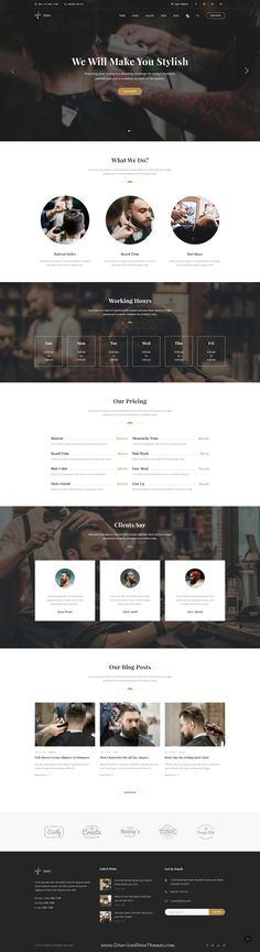 Hairy is clean and modern design #PSD template for #salon and #barber shop website with 3 homepage layouts and 36 layered PSD pages to live preview & download click on Visit