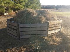 Cheap homemade round hay bale saver. 8 or so pallets (cut to size) held together with wire so it can be moved as needed.