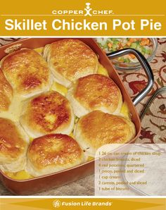 Try Skillet Chicken Pot Pie in your Copper Chef Pan.  The Copper Chef is the best pan you can use. The nonstick cerami-tech coating means you don't need to add any extra fats or oils. #CopperChef #Recipes