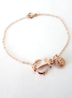 Personalized Lucky Rose Gold Anchor bracelet - simple rose gold filled bracelet with Anchor, best friends, sisters, mum Nautical Jewelry, Cute Jewelry, Jewelry Box, Jewelry Accessories, Jewelry Design, Jewelry Making, Jewelry Watches, Unique Jewelry, Jewlery