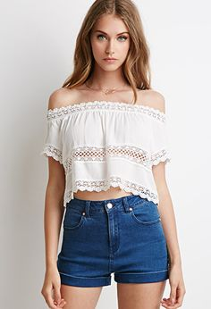 Crocheted Gauze Crop Top | Forever 21 - 2000095633