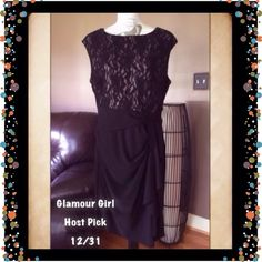 🔳 CHAPS Sleeveless  Dress Elegant and classy cocktail dress. Lace sleeveless top dress has a ▪️boat neck collar, ▪️draped ruffle down the skirt, ▪️stretchy jersey construction, ▪️lined bodice. Material: Shell- Polyester/ elastane. Lining- Polyester. Will fit 16/18. CHAPS Dresses