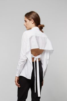 White Shirt reinvented with open back detail; pattern cutting; contemporary fashion // Tome