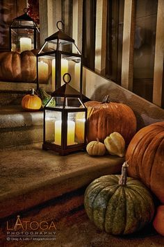 Autumn porch decorations with pumpkins and lanterns, Halloween, Thanksgiving, Fall Thanksgiving Decorations, Seasonal Decor, Halloween Decorations, Holiday Decor, Outside Fall Decorations, Turkey Decorations, Halloween Lanterns, Outdoor Decorations, House Decorations