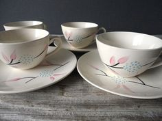 Hand Painted Tea Cup Set by OceanSwept