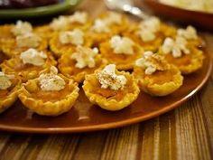 mini pumpkin pie bites:  1 can  30 Ounces) Easy Pumpkin Pie Mix  1 can (5 Ounces) Evaporated Milk  2 Eggs 2 pkgs  (2.1 Ounces Each) Athens Mini Fillo Shells  Whipped Cream  Nutmeg