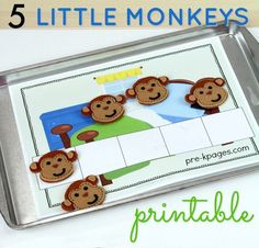 Printable 5 Little Monkeys 5 Frames for Counting. Your kids love the fingerplay, but now you can also teach basic number sense and math skills with this fun printable to go along with the rhyme!