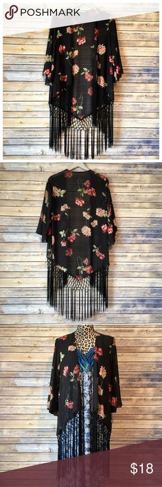 Boho Chic Floral Fringe Kimono Wrap  Boho chic is one of the hot trends for spring and summer! This kimono style wrap is perfect for music festivals, a day at the beach, or a trip to the mall with friends. Size is xs/s and is oversized. Sleeves are open, wide, and just slightly cropped. Some fraying of the fringe noted but no other flaws. Soprano Tops