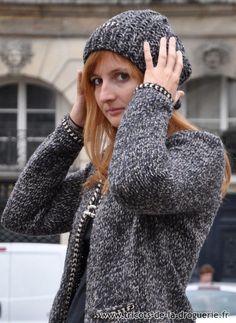 e594d27d2bb La veste et le bonnet « Place des Victoires » tricotée en « Re-belle »