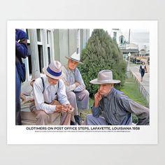 Oldtimers on Post Office Steps, Lafayette, Louisiana 1938 Art Print Colorized History, Lafayette Louisiana, Meet The Artist, Buy Frames, Post Office, Printing Process, Gallery Wall, Art Prints, Artwork
