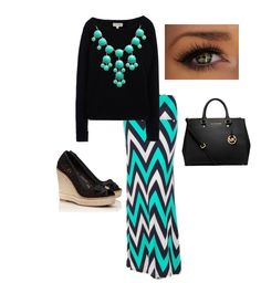 LOVE LOVE LOVE the chevron maxi and aqua bubble necklace!